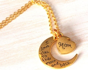 I love you to the moon and back, quote jewelry, gifts for Mom, Mom gift, Mom jewelry, Mom necklace, Christmas gift for Mom, new Mommy gift