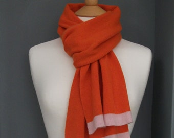 Pure Cashmere Knitted Scarf - Marmalade Orange - Soft, Autumn, Cosy, pink border