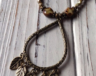 Brass Leaf Necklace with Brown Green Czech Glass Beads