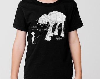 My Star Wars AT-AT Pet kids graphic tee, pre school shirt, kindergarten, star wars t shirt, toddler, youth, funny, kids gift, black & white