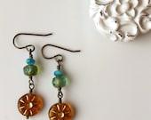 Amber Bohemian Brass Earrings / Gold Turquoise Blue Boho Chic Earrings / Casual Weekend Wear Bohemian Jewelry / Brass Earrings