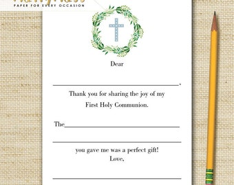 PRINTED Fill in the blank Thank You Cards, Boys First Holy Communion - 10 note cards & envelopes, Printed with eco friendly soy ink