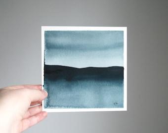 "Quiet Superior, Original Abstract Waterscape Painting, Watercolour, Indigo Blue, 5"" X  5"""