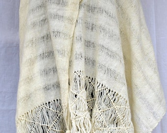 Vintage Knitted Creamy White Wool Shawl - openwork, tassels and fringe