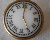 VINTAGE White Glass Watch Face BUTTON