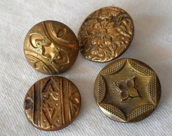4 ANTIQUE Gilt Gold Metal BUTTONS