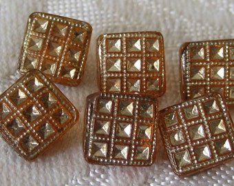 Set of 6 VINTAGE Small Square Orange Glass BUTTONS
