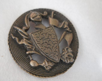 VINTAGE Pierced Metal Shield BUTTON