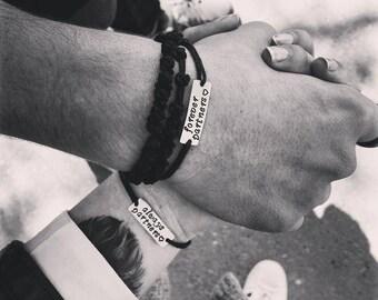 Couples Bracelets, Engraved Bracelet, Aluminum, Set of Two, Men Bracelet, Personalized Bracelet, Gift for Him, Always Partners, Forever