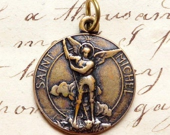 Bronze St Michael the Archangel Medal - Heavenly protector - Antique Reproduction