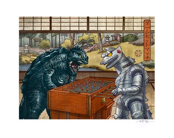 Foosball 11 x 14 Signed Print -Gamera and MechaGodzilla Playing Foosball