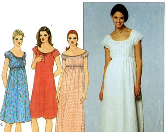 Simplicity 8768 Boho Pullover Empire Waist Dress Short or Maxi Size 18 20 22 Uncut Sewing Pattern 1999