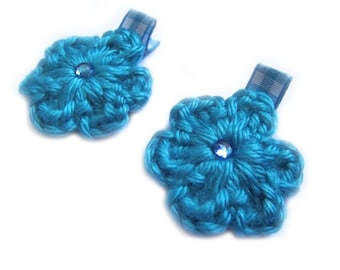 Turquoise Blue Hair Clips Turquoise Hair Clips Turquoise Gingham Blue Gingham Hair Clips Flower Hair Clips Baby Girl Hair Clips Baby Clips