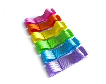 6 Rainbow Hair Clips Tuxedo Bow Hair Clips Rainbow Tuxedo Bows Pink Hair Clips Orange Yellow Hair Clips Lime Green Blue Hair Clips Purple