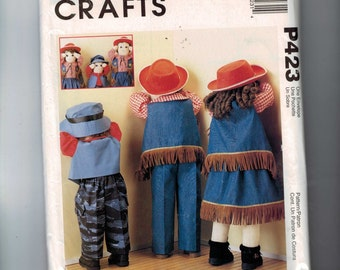 Craft Doll Sewing Pattern P423 Toy Doll Timout 25 26 Inch Dolls with Clothing Home Decora Large Craft  UNCUT