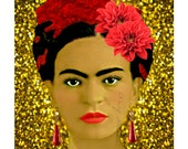 Frida Kahlo Poster Glamor Poster Instant Digital Download Print Collage Original Home Decor Gold Glitter Background Red Earrings All Sizes