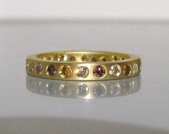 Multi Color Natural Diamond Eternity Band Stacking Ring 14K or 18K Gold Any Color
