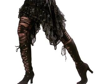 Skirt, X Large,  Black, Silver, Ruffles, Cabaret, Vaudeville, Steampunk, Noir, Gothic, Vampire, BellyDance, Dark Fusion Boutique
