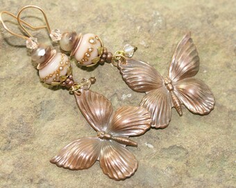 Antique Brass Butterfly and Pink Lampwork Glass Earrings, Handcrafted Vintage Style Artisan Jewelry, Victorian, Romantic, Nature Inspired