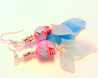 Pink and Turquoise Sugar Skull Silver Dragonfly Earrings