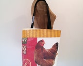 Tote Bag, Repurposed Chicken Feed Bag, Maine made, eco-friendly gift