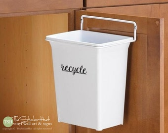 "recycle • Kitchen Decor • Organization • Garbage Can Label • Decal • Vinyl Lettering • 10"" x 3.6"" • Vinyl Art Graphic Stickers Decals 1900"