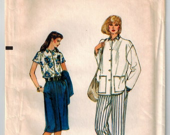 Vintage 80s Vogue Sewing Pattern Misses Jacket Blouse Skirt Pants Size 12 Bust 34 Designer Winter Wardrobe A-line Skirt Straight Leg Pants