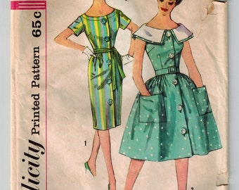 Vintage 60's One-Piece Dress Sewing Pattern w/Two Skirts Detachable Collar Bust 34 Front Button Set In Sleeves Slim or Full Gathered Skirt