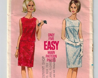 Vintage 60's Madmen Two Piece Dress Pattern Semi Fitted Sleeveless Blouse Oval Neckline Slim Darted Skirt Size 12 Bust 32 Butterick 4228