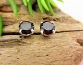 Black Garnet Earrings in Gold, Silver, or Platinum with Genuine Gems, 6mm - Free Gift Wrapping