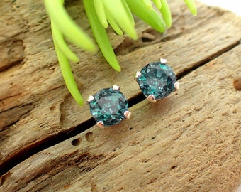 Alexandrite Lab Grown Earrings in Gold, Silver, or Platinum with Genuine Gems, 4.5mm - Free Gift Wrapping
