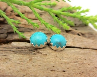 Turquoise Stud Earrings, Blue Cabochon Earrings from Nacozari Mine, in Gold or Silver, 6mm