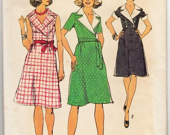 "1970's Vintage Sewing Pattern Ladies' A-Line Wrap Dress Simplicity 6087 36"" Bust - Free Pattern Grading E-book Included"