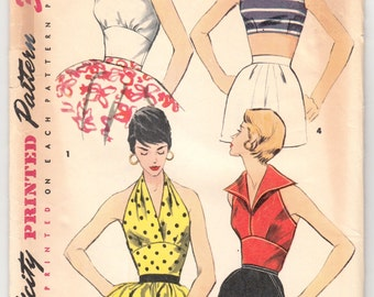 "FF Vintage Sewing Pattern Ladies' Halter and Crop Tops Simplicity 1203 34"" Bust- Free Pattern Grading E-book Included"