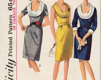 "Vintage Sewing Pattern 1960's Simplicity 5938 Ladies' Cowl-Neck Dress 34"" Bust - Free Pattern Grading E-book Included"