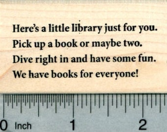 Little Library Poem Rubber Stamp, We have books for everyone H30630 Wood Mounted