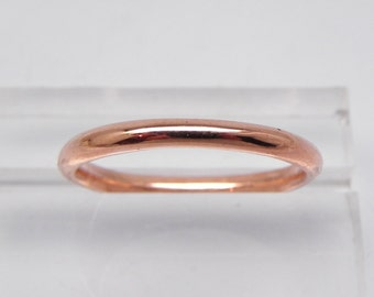 Round 2.0mm 14K Rose gold Wedding band. Stackable