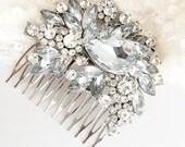 Rhinestone Bridal Hair Comb, Wedding Hair piece, Cubic Zirconia Flower Rhinestone comb, silver