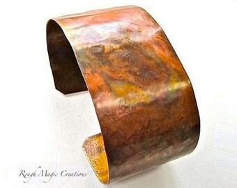 Wide Cuff Bracelet, Rustic Copper Cuff, Artisan Designer Jewelry, Hammered Copper Metalwork
