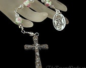 Three Hail Mary Devotion Chaplet Undoer of Knots Untier of Knots Pink Roses Lampwork Wire Wrapped Unbreakable Prayer Beads The Rosary Works