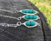 Turquoise Peas in a Pod Necklace, Two Peas in a Pod, Three Peas in a Pod, Turquoise Jewelry, Pea Pod Jewelry, Sterling Silver