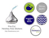 Whale Baby Shower Favor - 88 Hershey Kiss Stickers  - Navy Baby Shower Favor - Stickers for Candy Kisses - Shower Favors