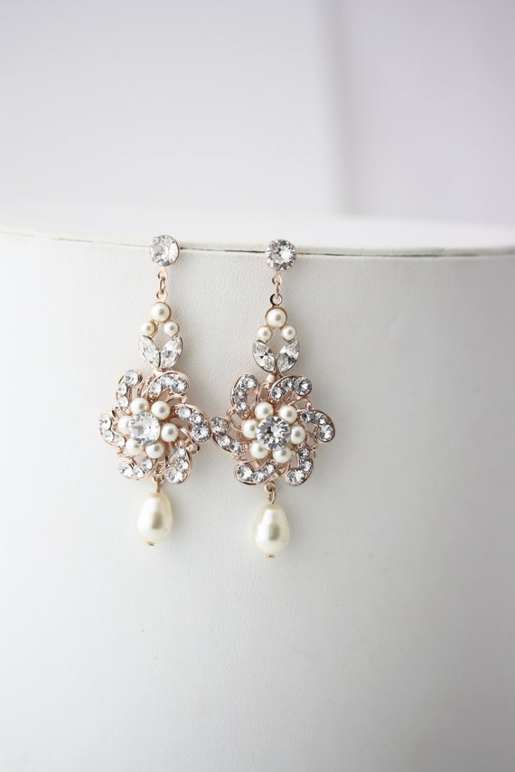 Wedding Pearl Earrings Rose Gold Bridal Chandelier Earrings