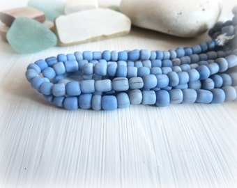 Small blue glass beads, matte ceil Blue seed beads, irregular spacer tube barrel , New Indo-pacific 3 to 6  mm  / 22 in strand  - 5A4-30