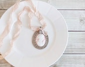 Shabby Cottage Chic Altered Art Mixed Media Assemblage Vintage Spoon Cameo Statement Necklace