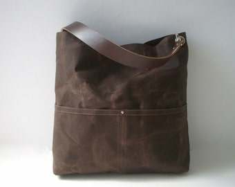 Waxed Canvas Tote Bag, Brown Handbag, Casual Tote Bag, Handbag, Purse, Hobo Tote, Bucket Bag