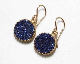 Blue Druzy Earrings Fine Druzy Earrings Gold Crown Earrings Blue Drusy Earrings Blue Druzy Jewelry Blue Druzy Jewelry  FD-E-103-B/g