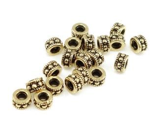 Antique Gold Beads - TierraCast 4mm ROCOCO ROUND Beads - Gold Bali Beads - Tierra Cast Pewter (PS60)