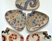 Made To Order Cat Party Plate collection of 4: whimsical Feline design Cat Art HM triangle shape dish set decorative yet functional clay