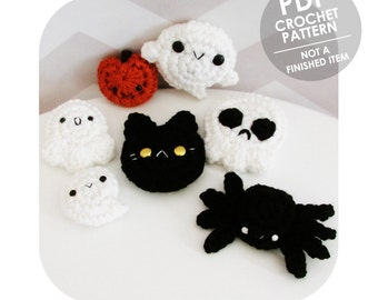 crochet pattern - halloween pins or hair clip collection - ghost spider pumpkin black cat skull - halloween costume party